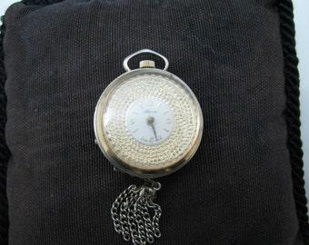 Unique Vintage Lapel Watch/ Pendant Watch Round with a Rotating Bezel