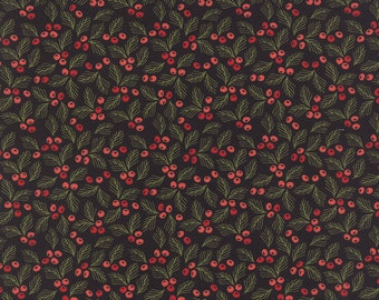 Cotton Quilt Fabric by the yard, Juniper Berry- Holly Berry in Black by Basic Grey for Moda Fabrics, Black Christmas Holly Fabric, 30437 19