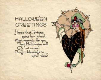 Vintage Art Deco Halloween greetings card digital download printable instant image