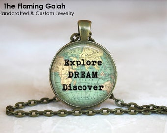 EXPLORE, DREAM, DISCOVER Pendant • Travel Quote • Traveler Quote • Adventure • Leaving Gift • Gift Under 20 • Made in Australia (P1289)