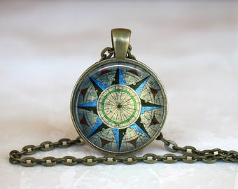 COMPASS Pendant • Green Compass • Vintage Compass • Old Compass • Nautical Gift • Sailor • Sailing • Made in Australia (P1089)
