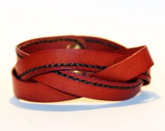 Orange Leather Cuff Bracelet! Nice gift for women! Orange wrist cuff! Bracelet wor women! Bracelet for men.