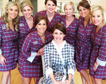 Bridesmaid Robe - The Cozy Flannel Plaid Robe- with lace trim