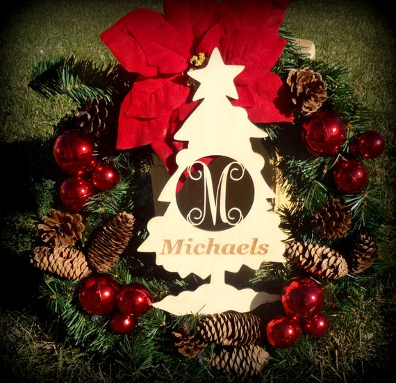 Christmas Cutout Decorations: Monogrammed Door Hanger, Craft, Christmas Tree Cutout