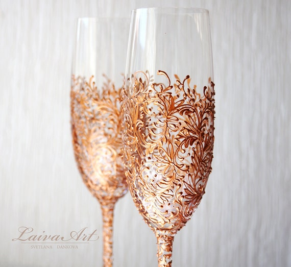 Rose Gold Wedding Champagne Flutes Wedding Champagne By LaivaArt