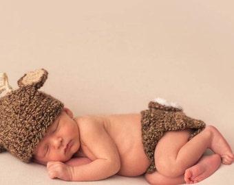 Newborn deer hat and diaper cover set