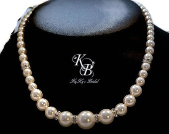 Pearl Bridesmaid Necklace, Pearl Bridal Necklace, Chunky Pearl Necklace, Wedding Jewelry, Prom Jewelry, Wedding Necklace, Pearl Necklace