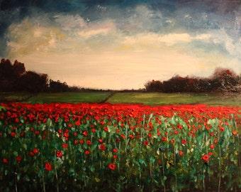 Landscape of Poppy FIeld Landscape Original Oil Painting (500mm x 400mm)