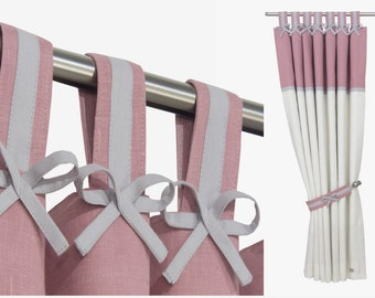 Pink Gray White Nursery Blackout Curtain I Tab Top Linen Blackout Panel with Linen Bows in Light Gray. Custom sizes.