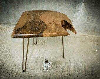 LIVE SIDE | Side Table | English Walnut with Antique Brass legs and Pewter detail