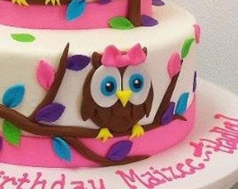 Owl Fondant Cake Topper 1st Birthday Baby Shower Pink Bow Optional