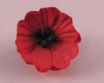 Small Red Poppy Flower Lapel Pin Brooch - Wedding / Formals / Everyday