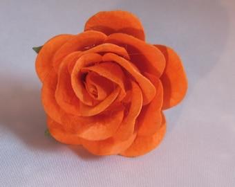 Paper Rose Flower Lapel Pin - Orange - Everyday / Weddings / Proms