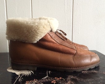 80s pixie boots 6.5 | vintage lambskin and sherling ankle boots