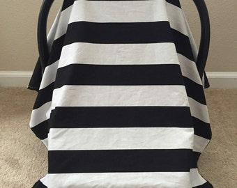 Car Seat Canopy - Black and White Stripes