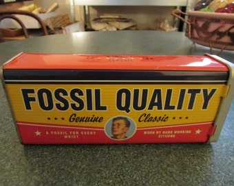 Vintage rectangular Fossil Tin