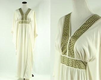 70's Ivory & Olive Greek Goddess Maxi Dress