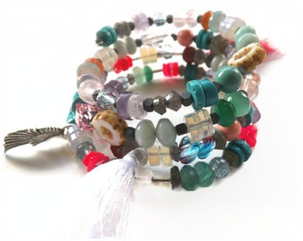 bright beaded wrap bracelet,wrap around bracelet,semi precious stone,boho bracelet,gypsy bracelet,multi coloured bracelet,summer,spring,UK