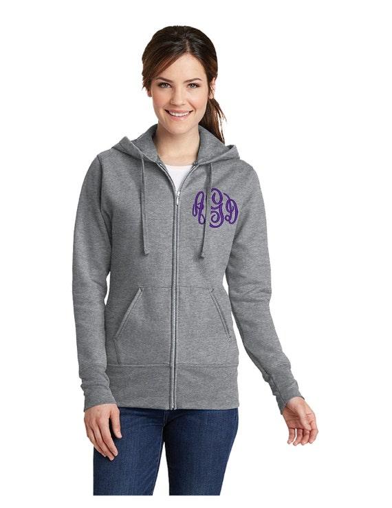 Ladies Monogrammed Full Zip Hooded Sweatshirt-- zip up ladies sweatshirt jacket with several color options-LPC78ZH