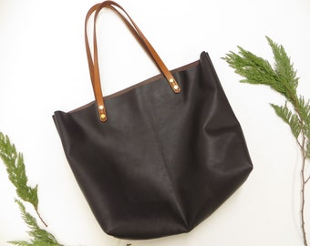 Brown Leather Tote, Womens Leather bag, Large Shopper