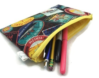 Pencil Pouch Wallet Makeup Bag in Vintage Travel Stamps