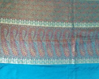 Pure silk sky blue vintage saree