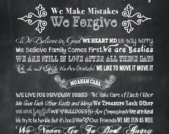 "20"" x 30"" Personalized Family Mission Statement Canvas Print Chalkboard Background and Chalkboard Fonts"