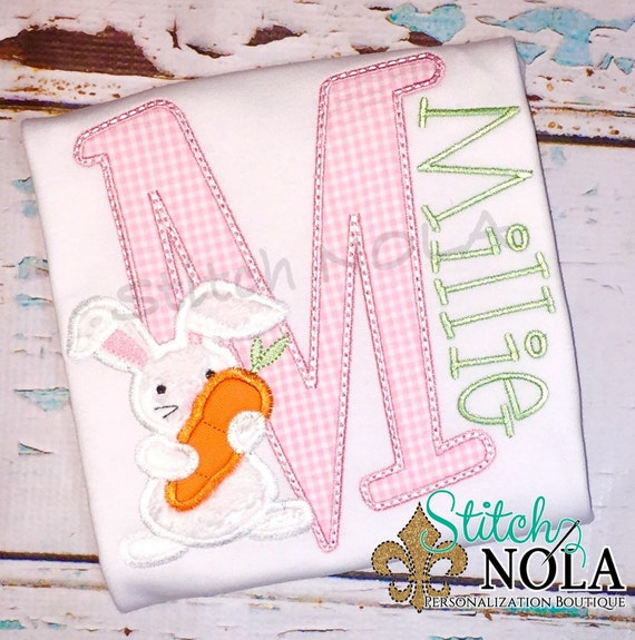 Bunny Shirt Alpha Easter Shirt, Gown or Bodysuit-Boy or Girl