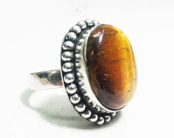 Natural Tiger eye stone 925 Sterling Silver Overlay Ring, partywear ring, Oval shape ring , gemstone ring