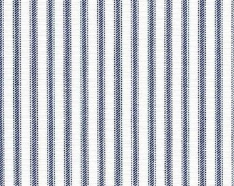 Cotton Ticking Fabric by the Yard Designer Classic Home Decor Fabric Navy Blue Pin Stripe Fabric Drapery Upholstery Ticking Fabric G161