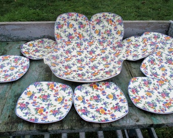 Romantic Maastricht Holland China Dessert Plates Serving tray Platter Flowers