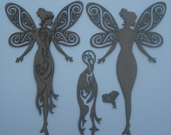 3D Chipboard  laser die cut Fairy ready to embellish