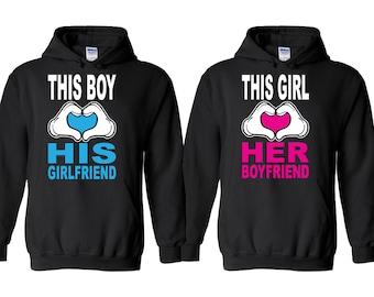 This Girl Love Her Boyfriend Couple HOODIE This Boy Love His Girlfriend Couple Matching Valentines Hoodies