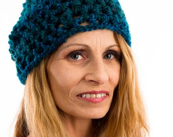 Teal crocheted hat