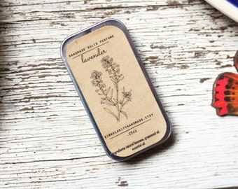 lavender solid perfume // relaxing // beeswax solid perfume // essential oil perfume // travel perfume // wedding gifts  // .25oz tin