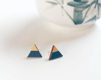 Small triangle wooden earrings, blue and gold, laser-cut lime wood, post earrings, studs, modern, geometric studs, handpainted, nickel free