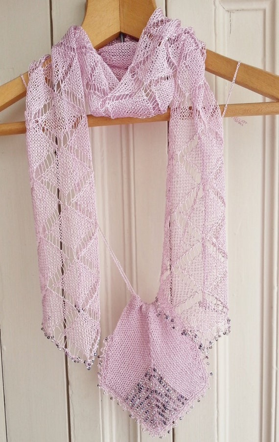 Knitting pattern for lace beaded scarf and bag