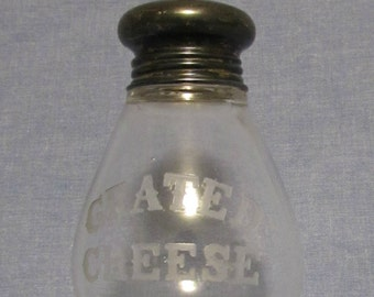 Grated Cheese Shaker, Etched Glass and Silver Plate, 1950's