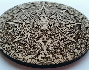 Laser Cut Aztec Calendar Coaster / Home Decor Alder Wood Cut Out
