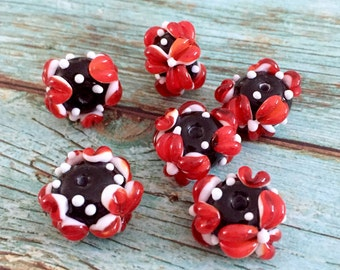 2+ Red flower black beads  handmade lampwork set glass bead