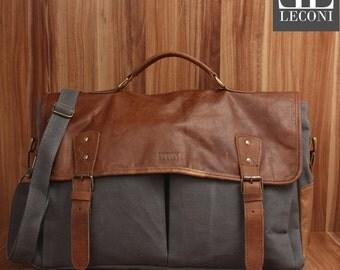 LECONI Messenger bag DIN A4 Messenger bag shoulder bag leather of canvas grey LE3018-C
