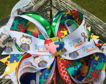 Autism Awareness Boutique Bow Hair Clip. Spread Awareness/Autism/Puzzle Piece/I Love Someone With Autism