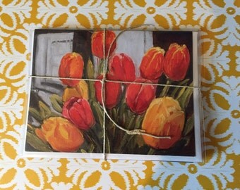 "I Love Tulips - Art Note Cards - 4 Pack, Blank Inside, 5 1/2"" x 4"", Reproduction of Original Art By Renee Brennan"