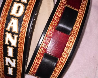 "Custom handmade leather handtooled personalized guitar strap 2 1/2"" wide"
