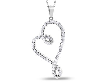 1.50 CT Natural Diamond Tilted Heart Pendant Necklace In Solid 14k White Gold