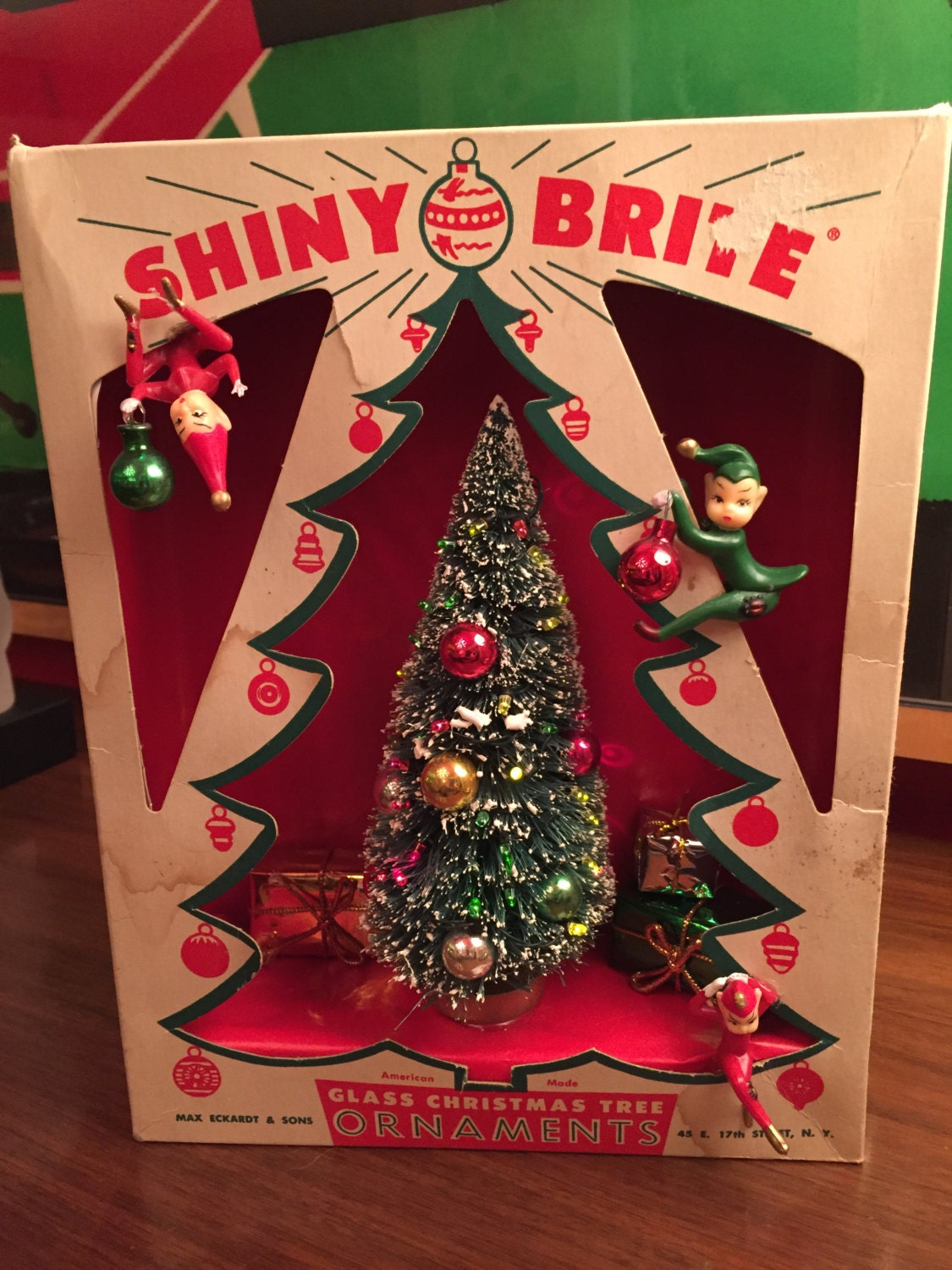 Vintage Christmas Shadow Box Diorama Shiny Brite Tree Box