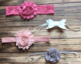Shabby Chic Vintage-style Headband Set, Newborn Headband, Baby Headband, Baby Shower Gift Set, Newborn Gift Set