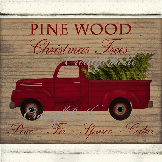 Vintage Red Truck Christmas Tree on Wood Large Instant Digital