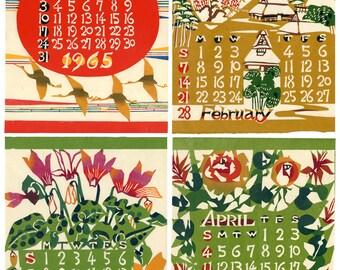 1965 Vintage Keisuke Serizawa Japanese Woodcut Stencil Calendar (each month separately)