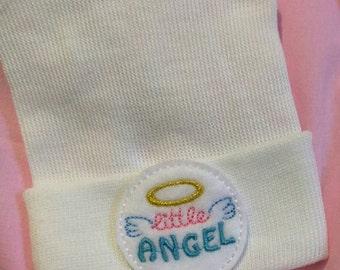 NEWBORN HOSPITAL Hat. Little Angel! Newborn Hospital Beanie.  Baby Newborn Hats. Newborn Baby Hats. Cute!